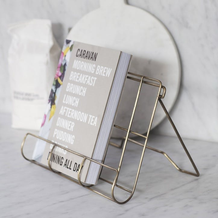 Brompton Cook Book Holder, Antique Brass Finish