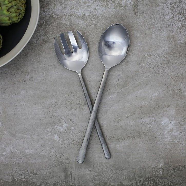 Sirkali Salad Servers; Brushed Silver