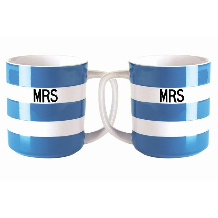 Cornish Blue 'Mrs & Mrs' Mugs, 10oz