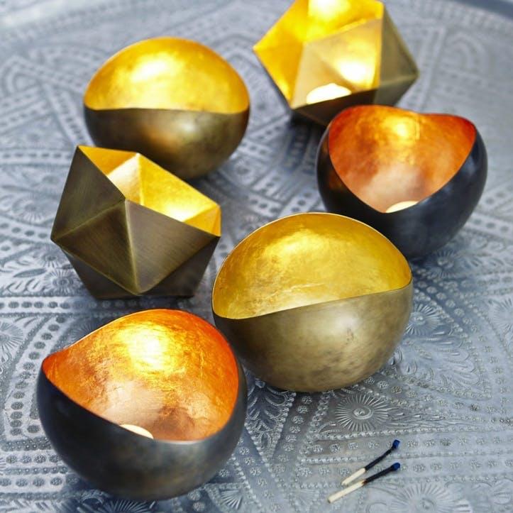 Round Tealight Holder, Copper