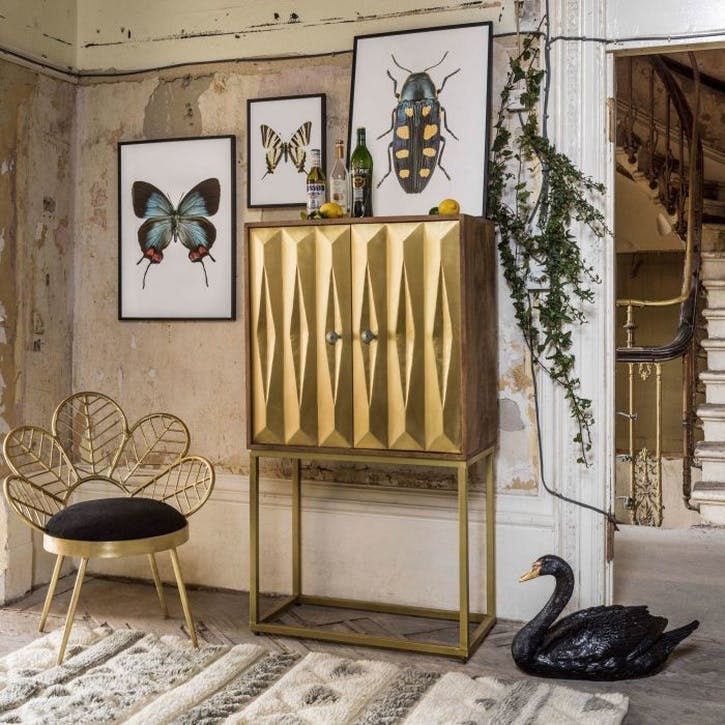 Umberto Brass Bar Cabinet