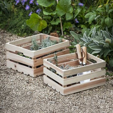 Wooden Storage Boxes, Set of 2
