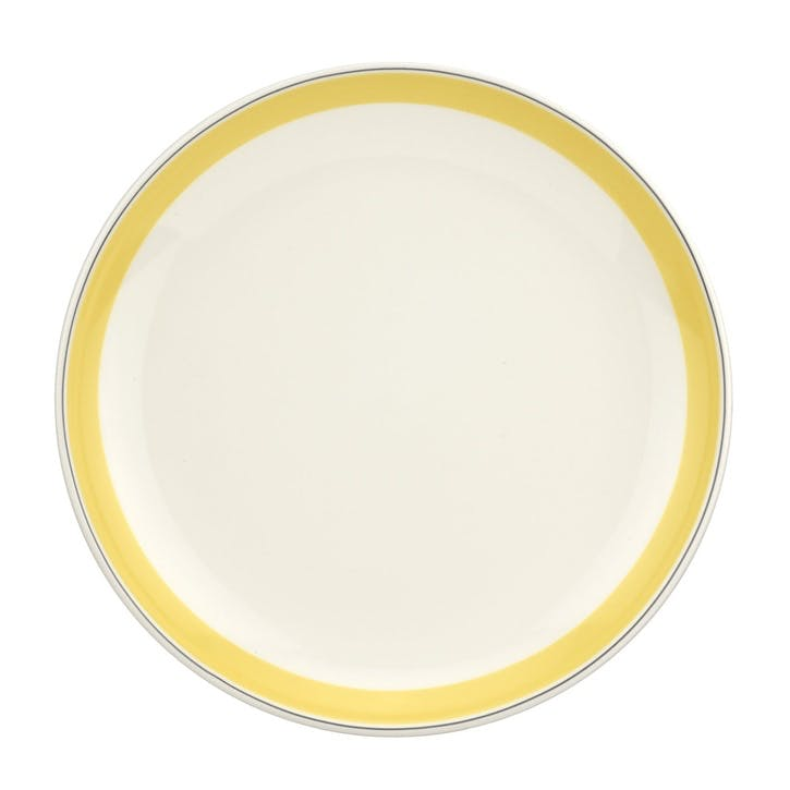"Westerly Coupe Plate, Set of Four - 10.5""; Yellow Band"