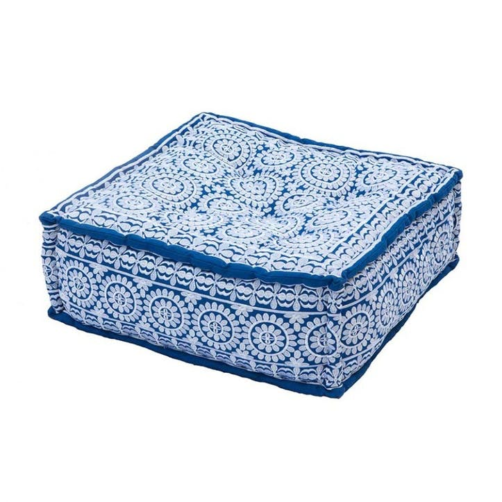 Antalya Embroidered Square Pouff, 60cm, White on Cobalt