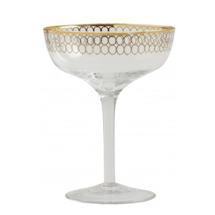 Circle Gold-Plated Cocktail Glasses, Set of 6