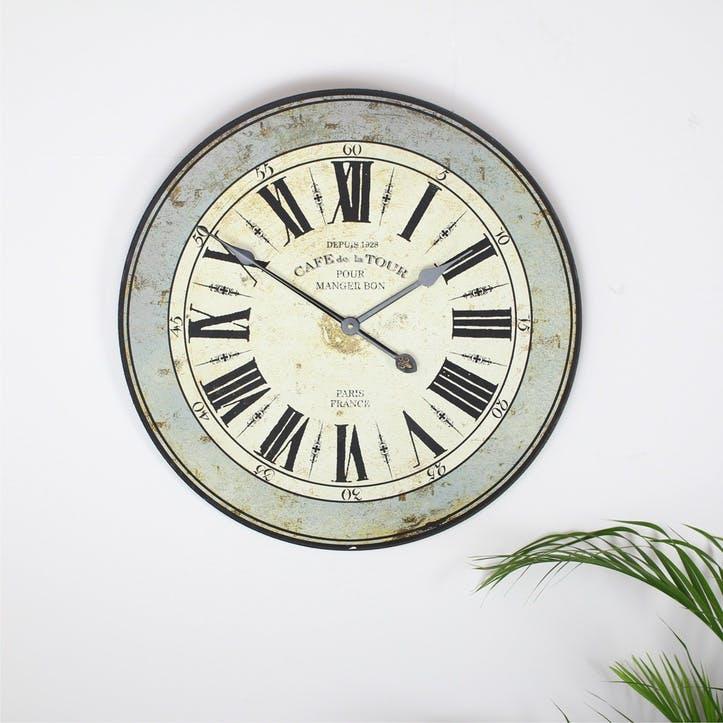 'Cafe De La Tour' Wall Clock