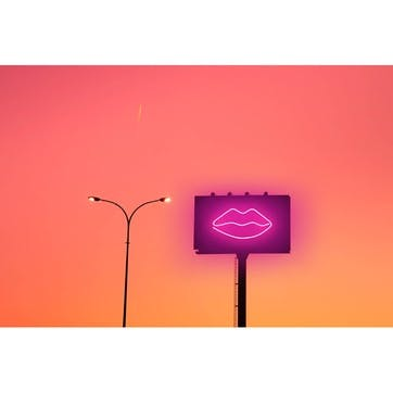 Billboard with Sexy Lips Neon Light and Sunset Sky in the City ChromaLuxe Metal Print, H41 x W51cm, Multi