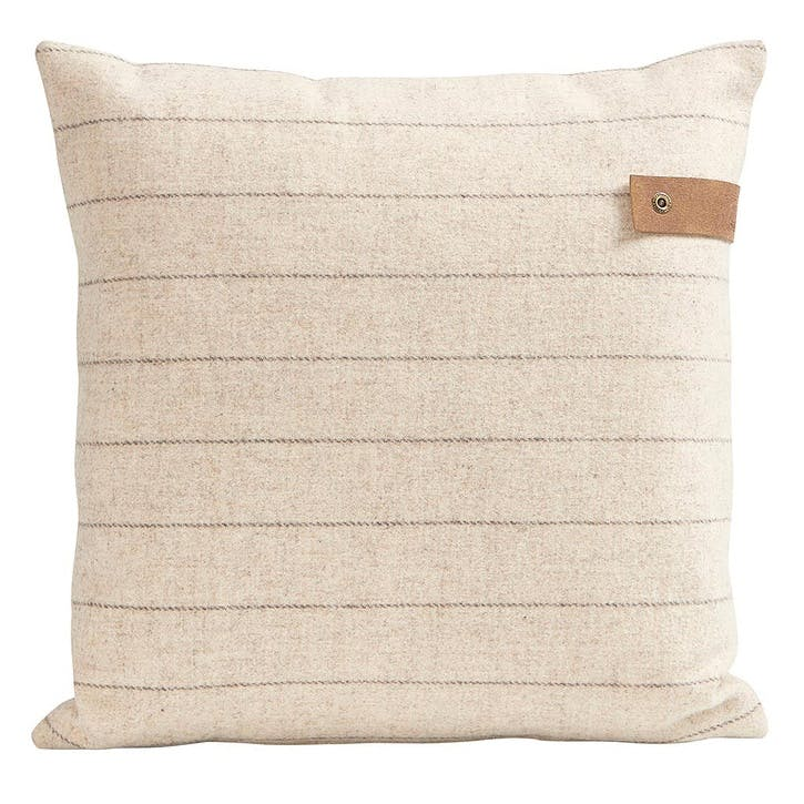 Marina Wool Striped Cushion, Crème