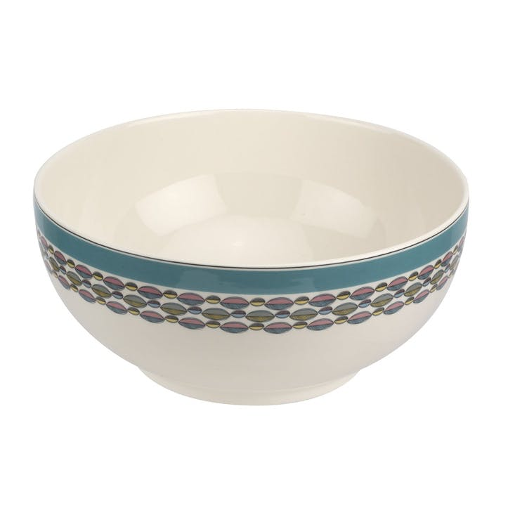 "Westerly Deep Bowl - 10.75""; Turquoise Band"