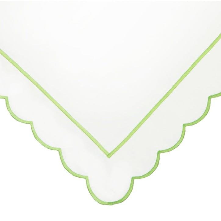 Green Scalloped Super King Size Duvet Cover