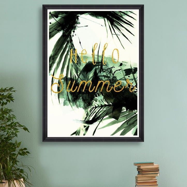 Hello Summer Black Framed Print, 70 x 100cm