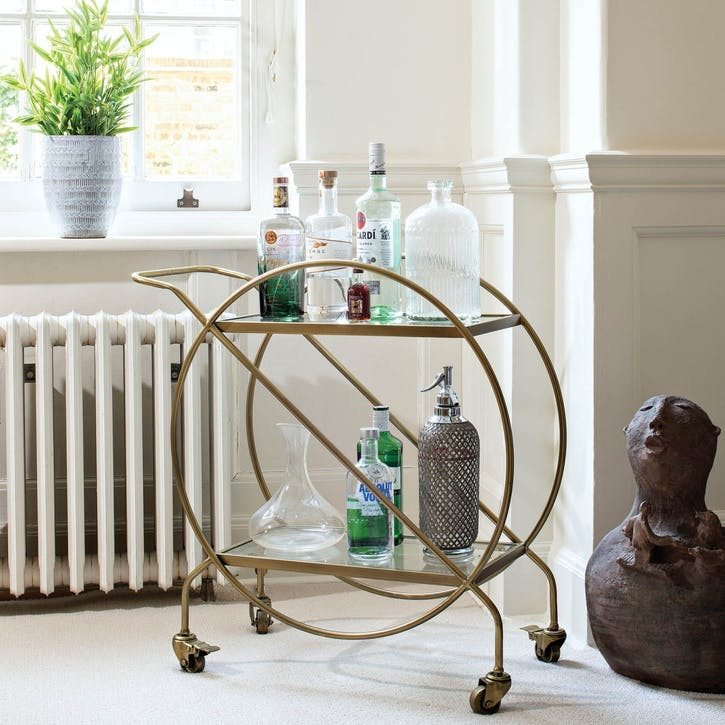 Antiqued Brass Drinks Trolley