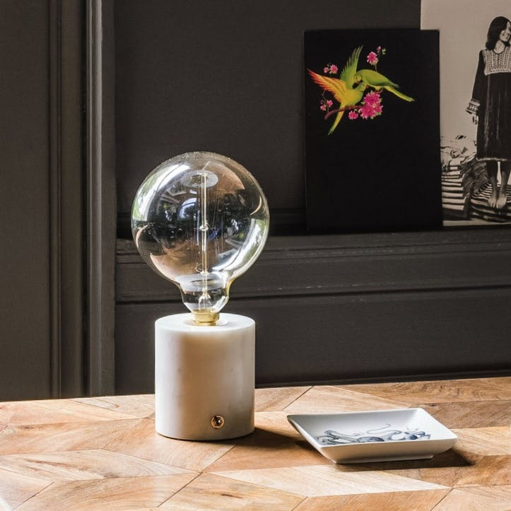 Alvin Round Marble Lamp Base