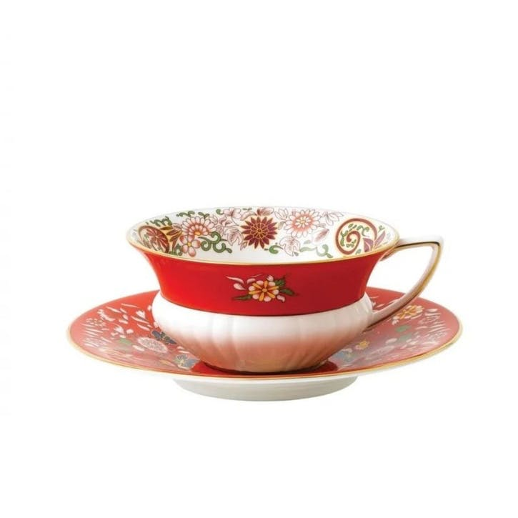 Wonderlust Crimson Orient Teacup & Saucer