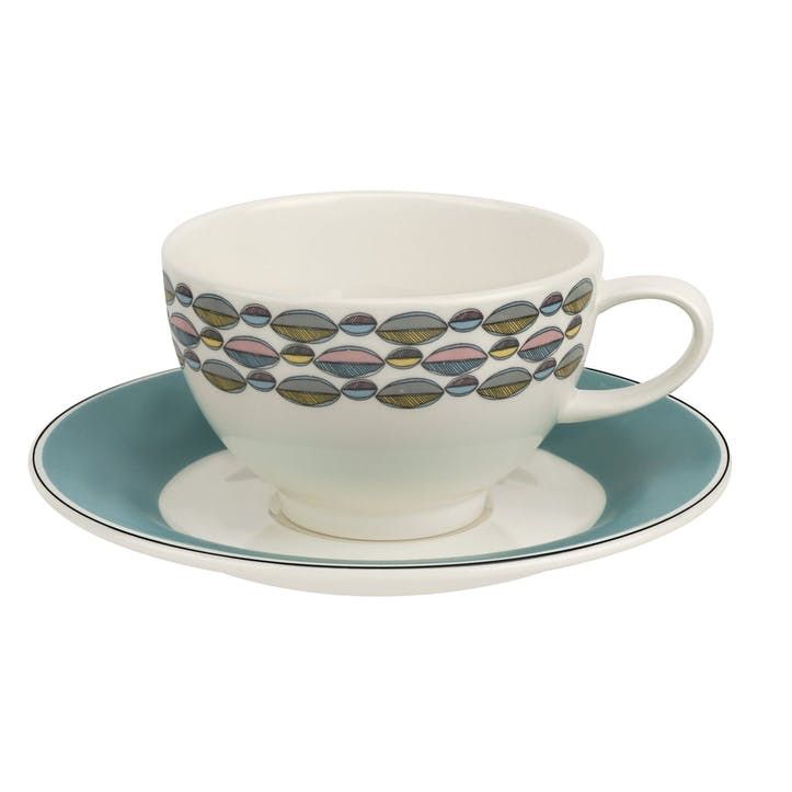 Westerly Tea Cup & Saucer, Set of Four - 8oz; Turquoise Band