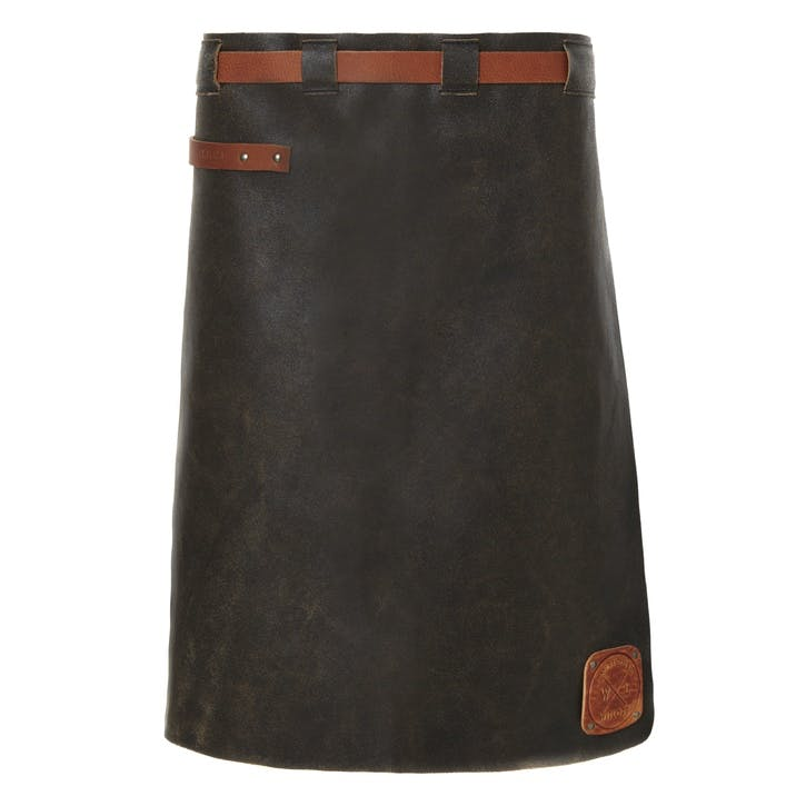 Leather Waist Apron, Long, Black/Cognac