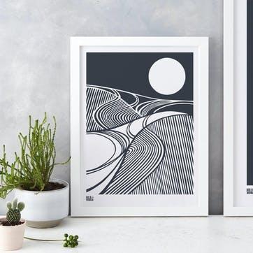Harvest Field Moon Screen Print - 30 x 40cm; Sheer Slate