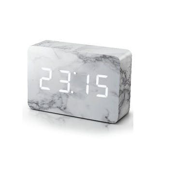 Brick Click Clock Marble Effect/ White LED, 15cm