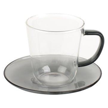 Glass Teacup and Saucer, Grey