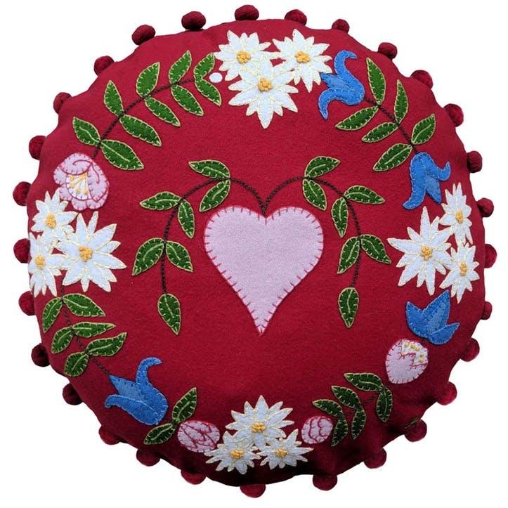 Alpine Heart Round Cushion, 46 x 46cm, Red