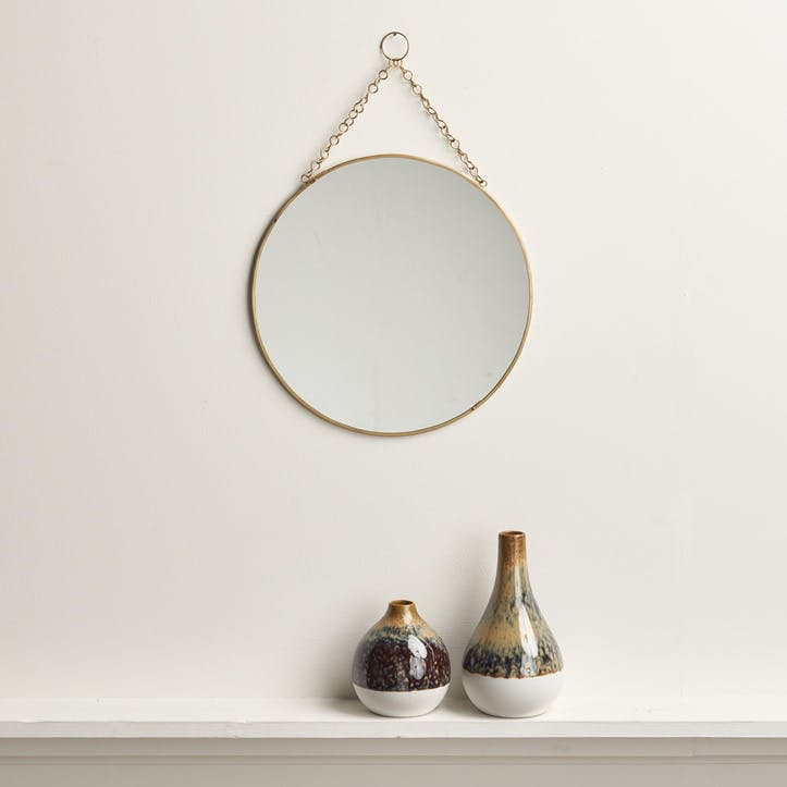 Round Hanging Mirror; Brass
