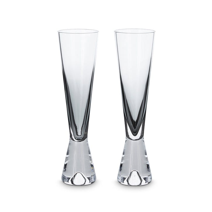 Tank Champagne Glasses, Set of 2, Black