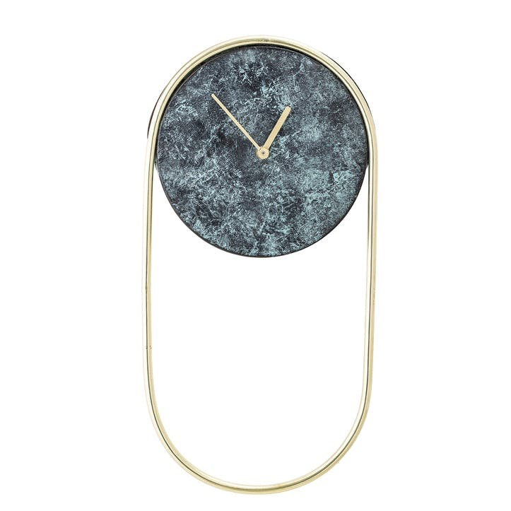 Wall Clock, Marble & Gold