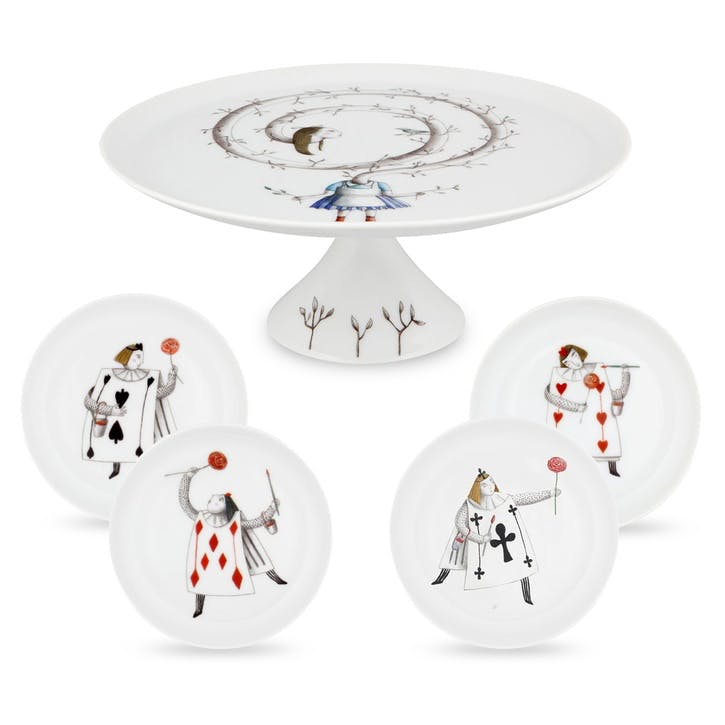 Tea With Alice Cake Stand & Plates Gift Set