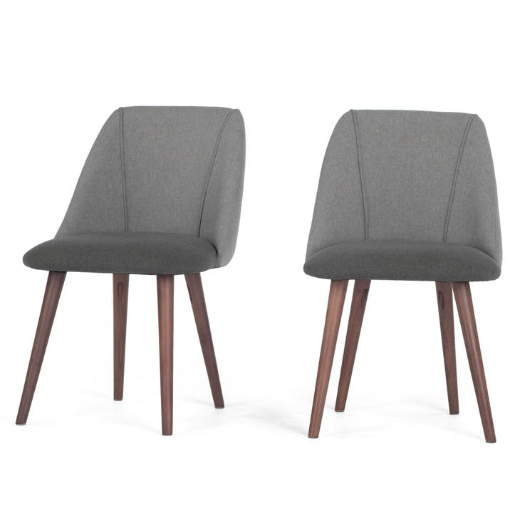 Lule Set of 2 Dining Chairs; Marl/ Hail Grey