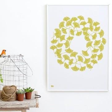 Ginkgo Screen Print, 50cm x 70cm, Yellow Moss