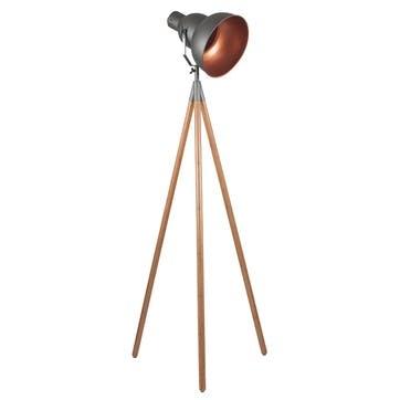 Larkin Tripod Floor Light; Grey & Copper