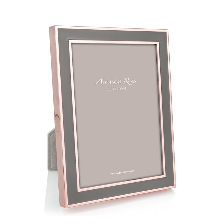 """20mm Rose Gold and Enamel Photo Frame - 5"""" x 7""""; Grey"""