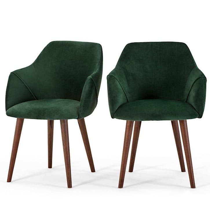 Lule Set of 2 Carver Dining Chairs; Pine Green Velvet