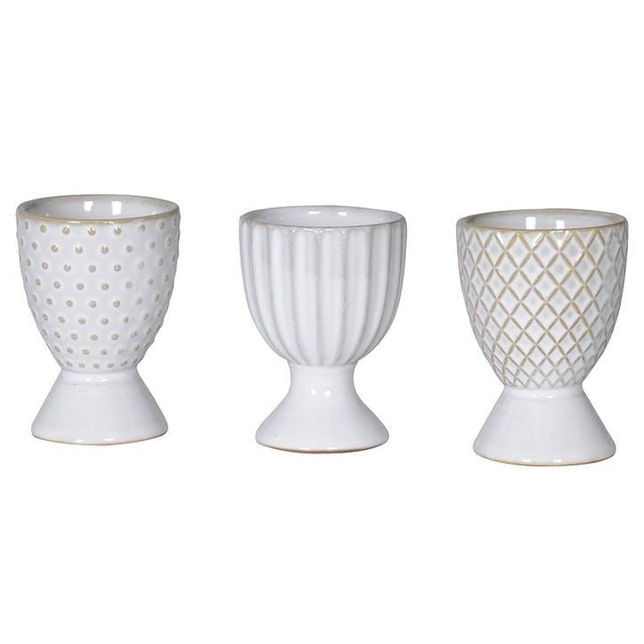 Mix & Match Ceramic Egg Cups, Set of 3, Grey