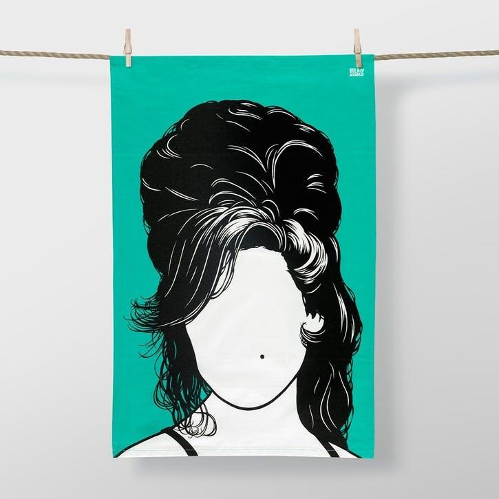 Icon Amy Winehouse Tea Towel, 47cm x 74cm, Bright Jade