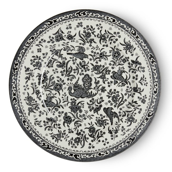 Black Regal Peacock Plate, 25cm