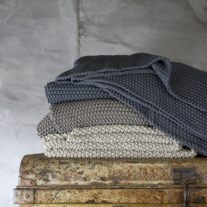 Fair Trade Moss Stitch Cotton Throw; Charcoal Grey