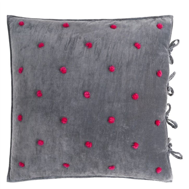 Sevanti Graphite Cushion with Pom Poms