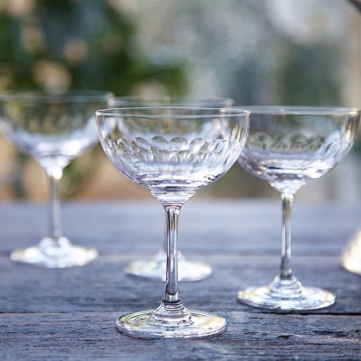 Lens Patterned Crystal Champagne Coupes, Set of 6