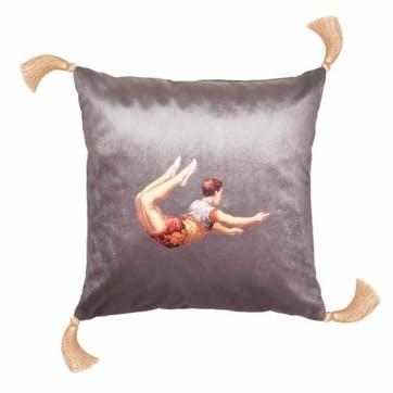 Trapeze Boy Velvet Cushion, Shark Grey