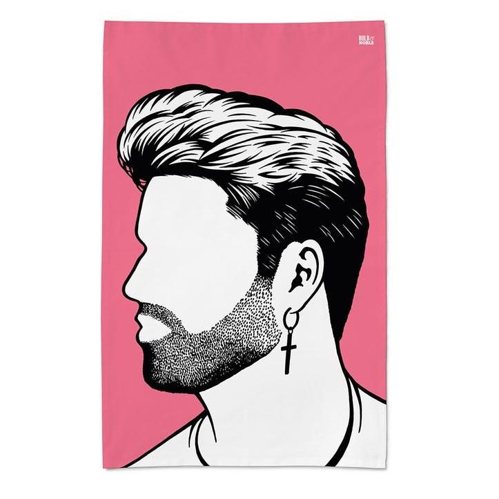 Icon 'George Michael' Tea Towel, 47cm x 74cm, Pink