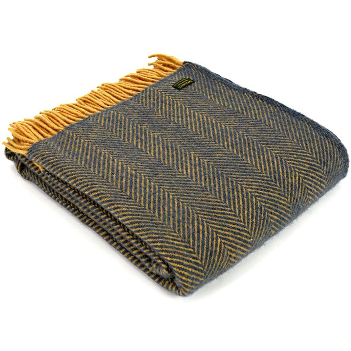Herringbone Throw; Navy & Mustard