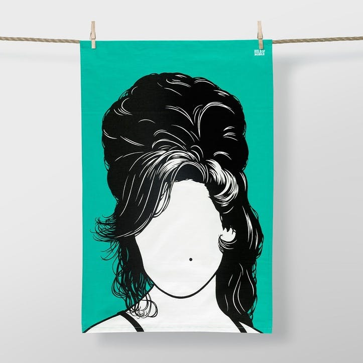 Icon Amy Winehouse Tea Towel, 47cm x 74cm, Bright Jade
