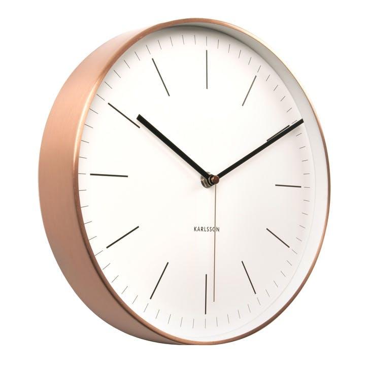 Minimal Wall Clock, White/Copper