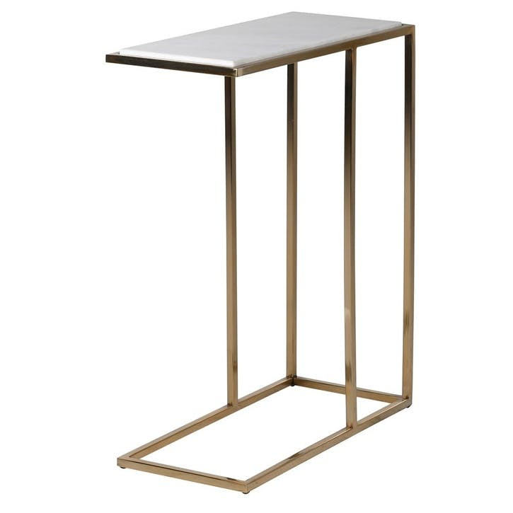 Marble and Brass Over Arm Side Table