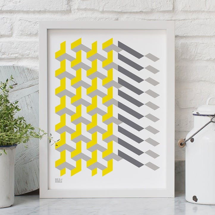 Geometric 'Polygon' Screen Print, 30cm x 40xm, Yellow/Grey