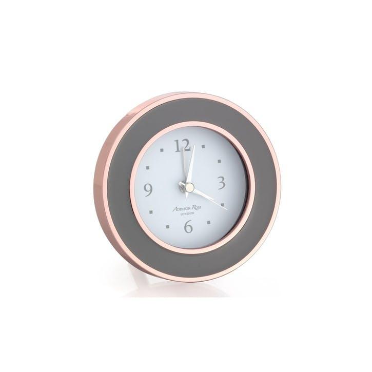 Alarm Clock; Rose Gold & Taupe Enamel