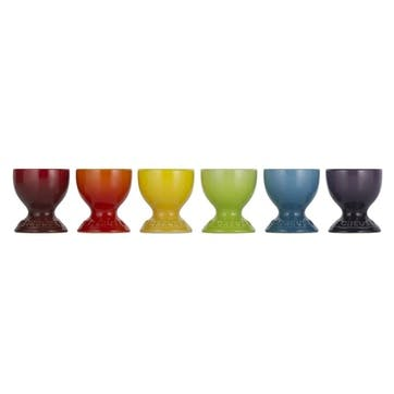 Rainbow Egg Cups, Set of 6