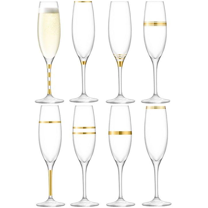 Deco Set of 8 Champagne Flutes, Gold