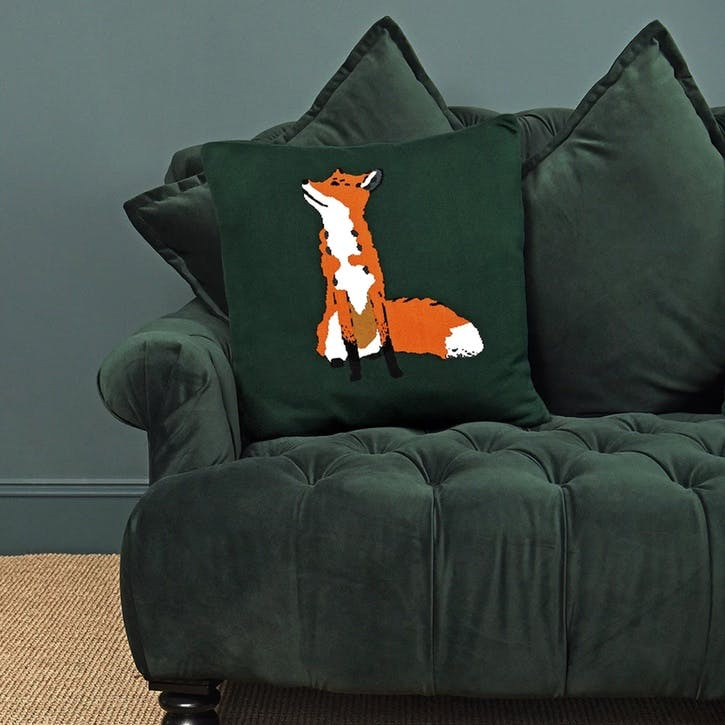 'Foxes' Knitted Statement Cushion